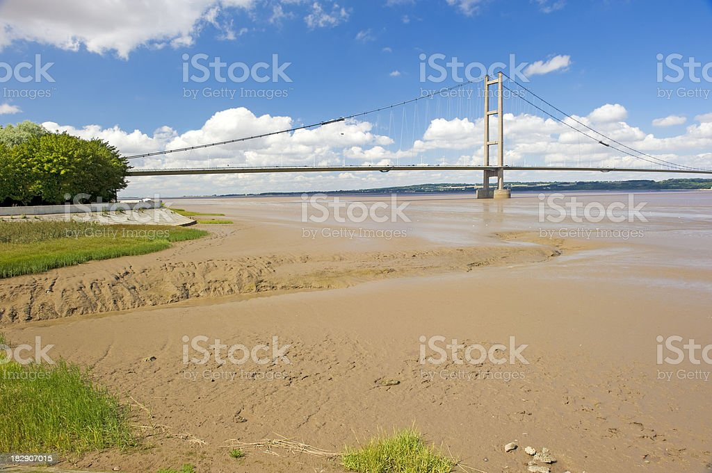 Muddy shores near Humber Bridge royalty-free stock photo