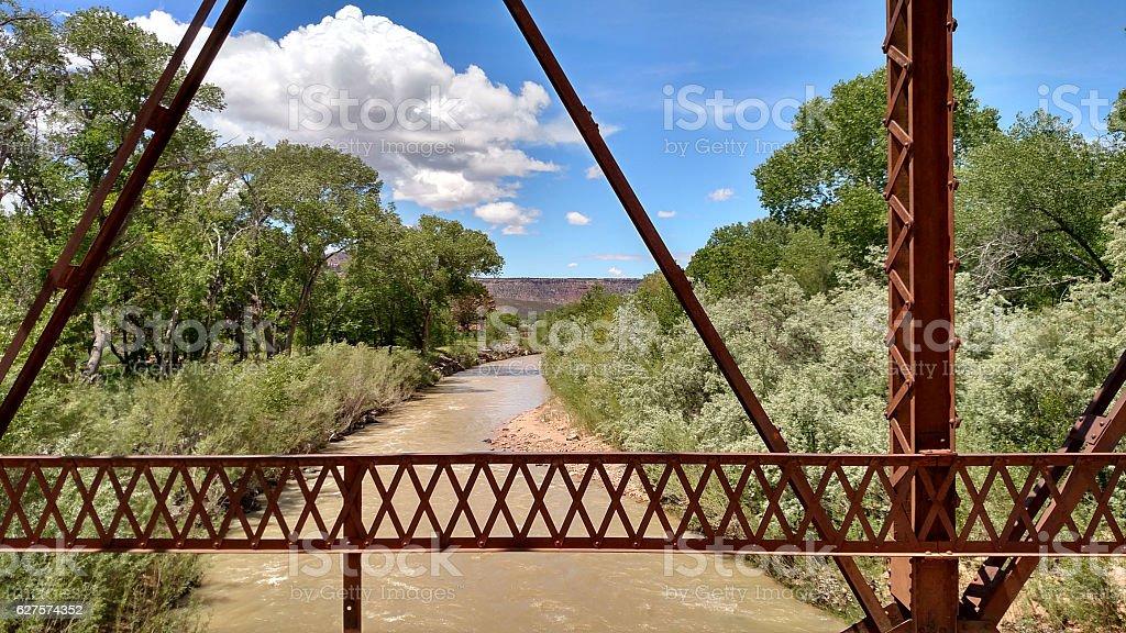 muddy Virgin River Historic Rockville Bridge Utah stock photo
