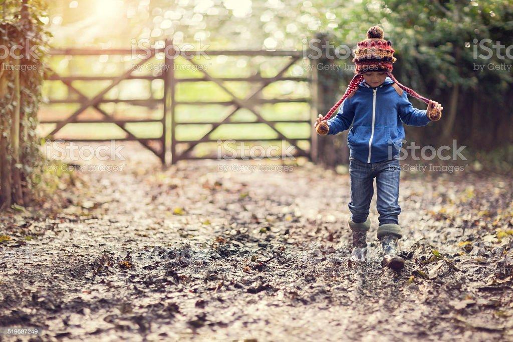Muddy walk stock photo