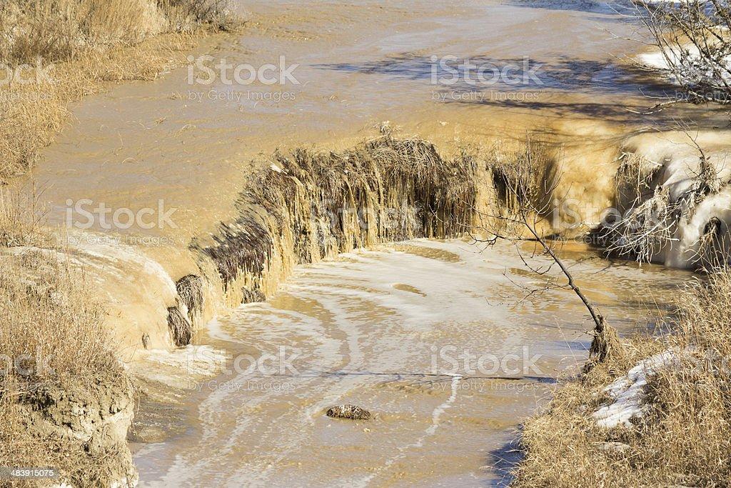 Muddy waterfall stock photo