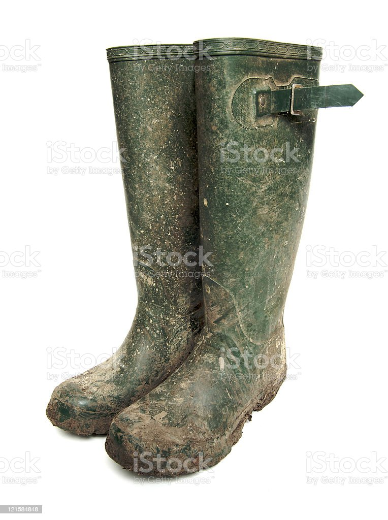 Muddy Wellington Boots royalty-free stock photo