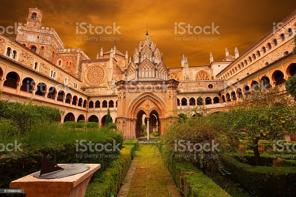Mudejar cloister Guadalupe monastery, Spain stock photo