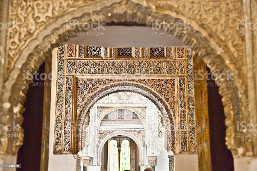 Mudejar decorations in the Alcazars of Seville, Spain. stock photo