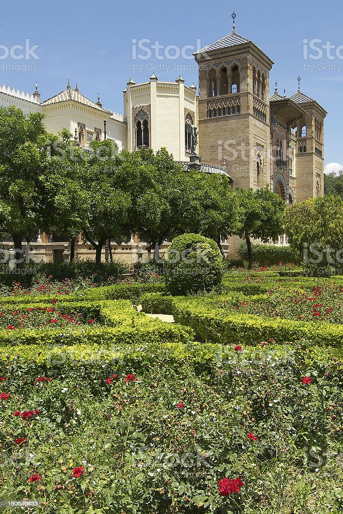 Mudejar pavilion in Maria Luisa park. Seville, Spain royalty-free stock photo