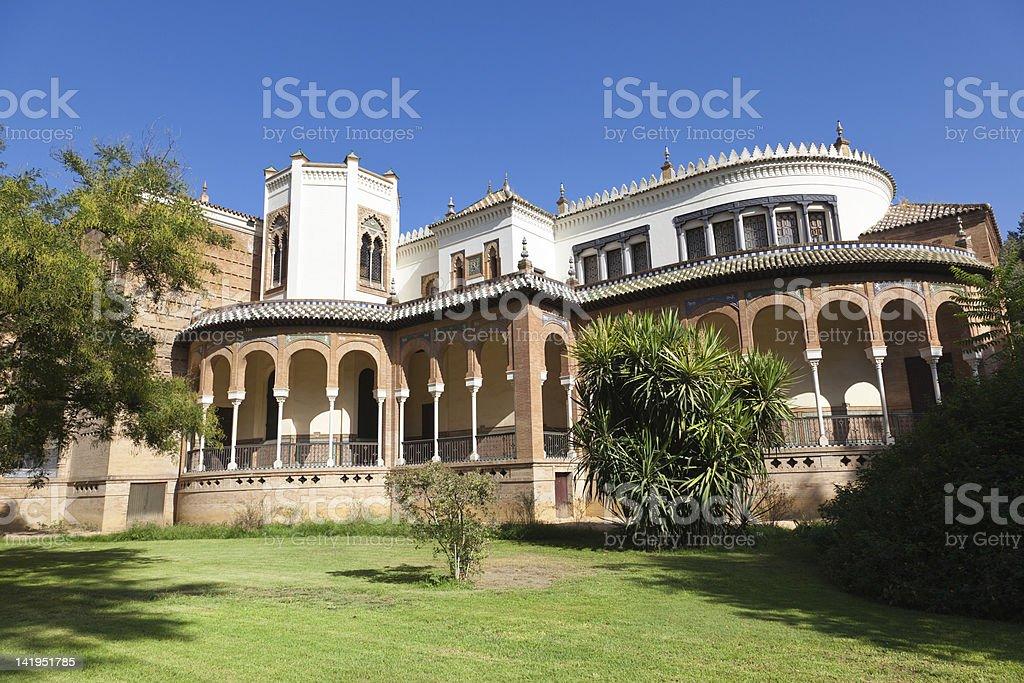 Mudejar Pavilion in Sevilla. Back facade royalty-free stock photo