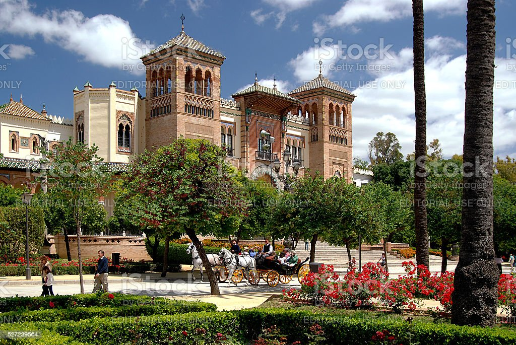 Mudejar Pavilion in the Parque Maria Luisa, Sevilla, Spain stock photo