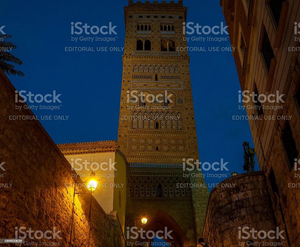 Mudejar tower of St. Martin in Teruel (Spain) stock photo