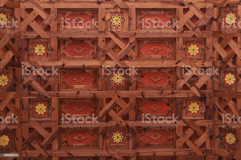 Mudejar wooden ceiling stock photo