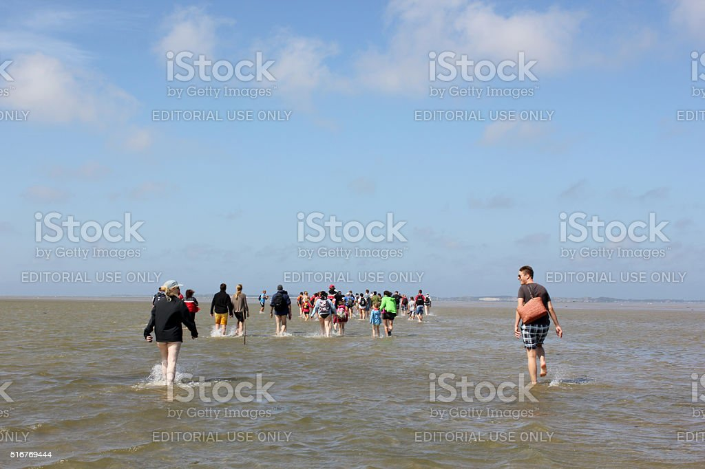 mudflat hike  in Northern Germany stock photo
