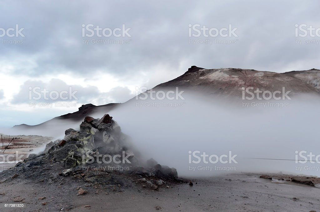 Mudpots in the geothermal area Hverir, Iceland. stock photo
