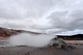 Mudpots in the geothermal area Hverir, Iceland.