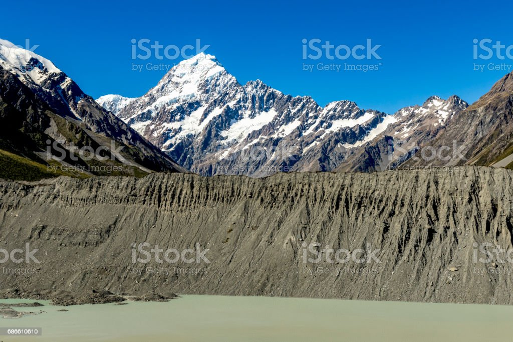 Mueller Glacier and Lake stock photo