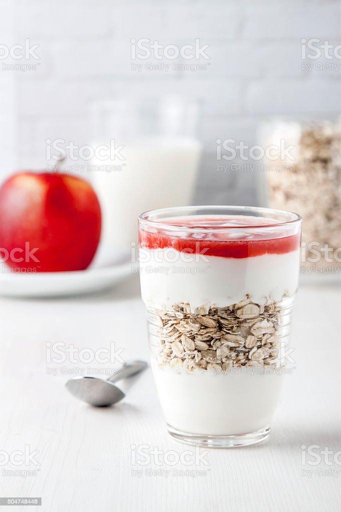 muesli and yogurt stock photo
