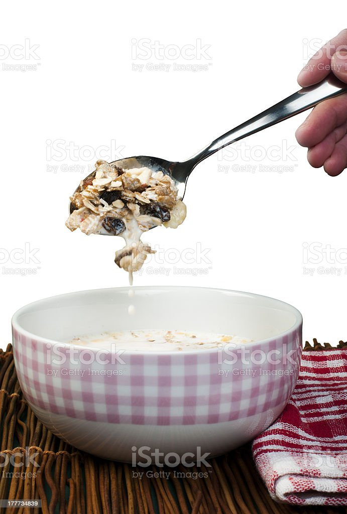 Muesli breakfast in a bow and spoon royalty-free stock photo