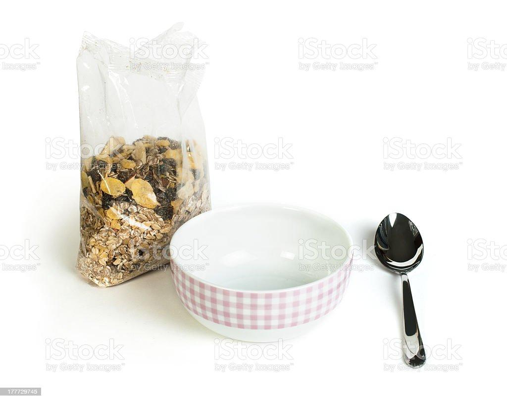 Muesli breakfast in transparent package royalty-free stock photo