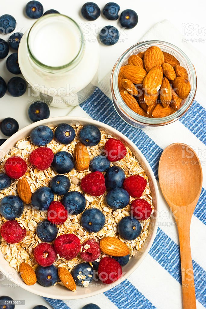 Muesli for breakfast stock photo