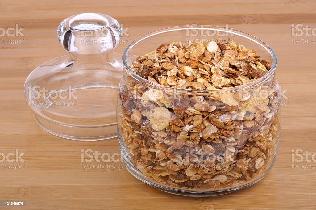 muesli in a glass jar stock photo