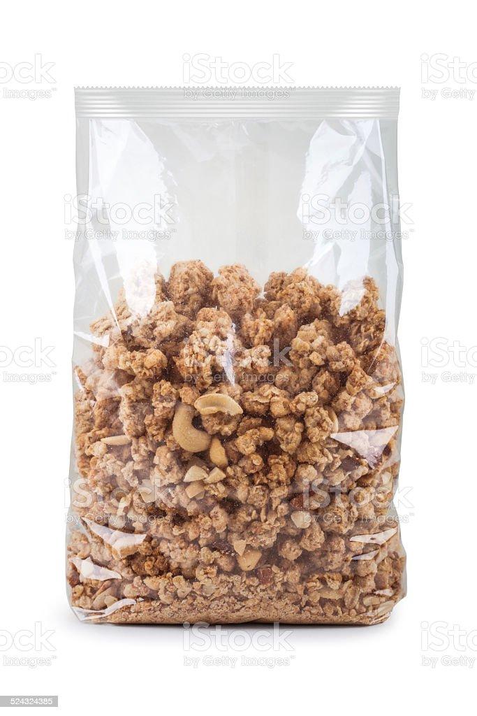 muesli in plastic bag stock photo