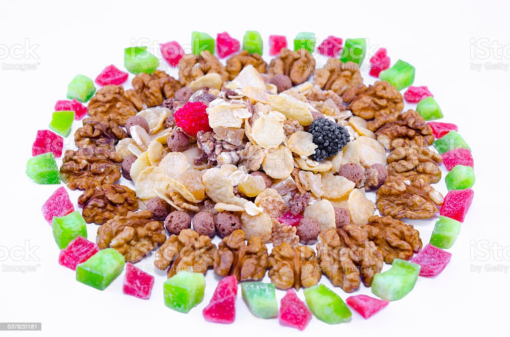 Muesli, walnuts and dried fruit isolated royalty-free stock photo