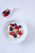 muesli with blueberry,strawberry and yogurt