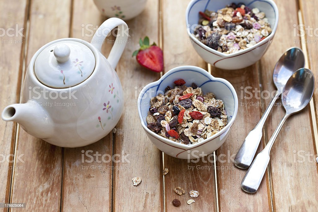 Muesli with dried fruits. royalty-free stock photo