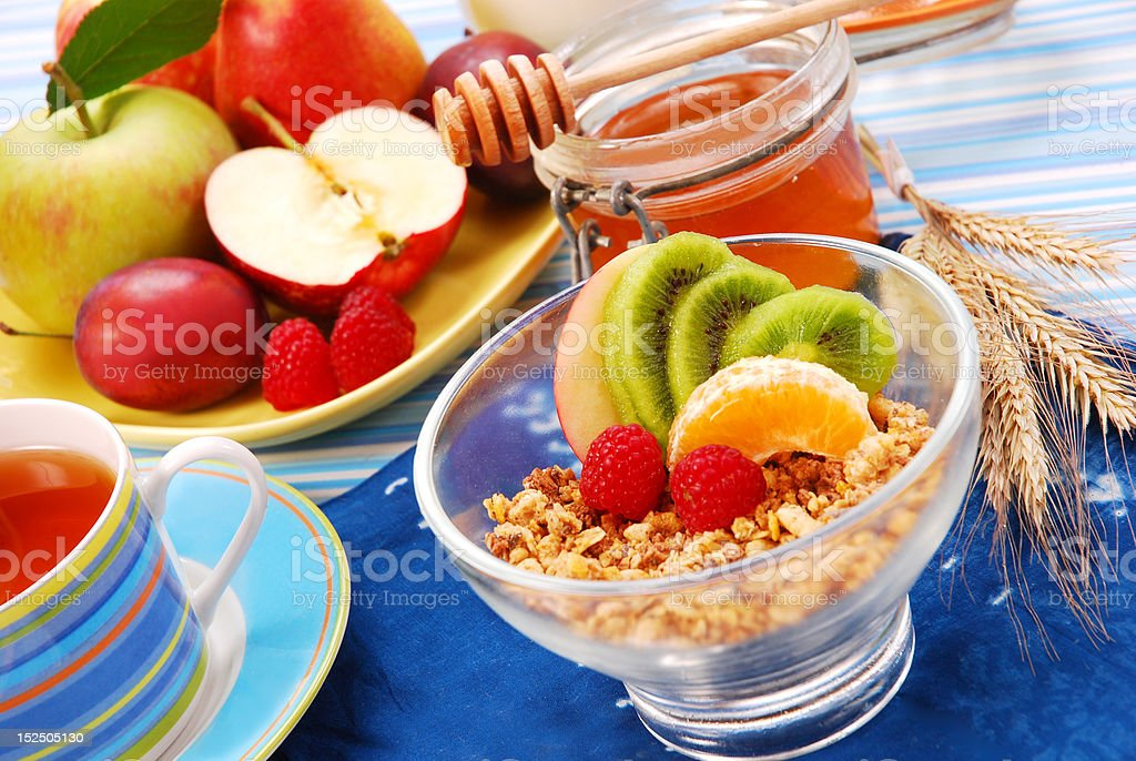 muesli with fresh fruits as diet food royalty-free stock photo