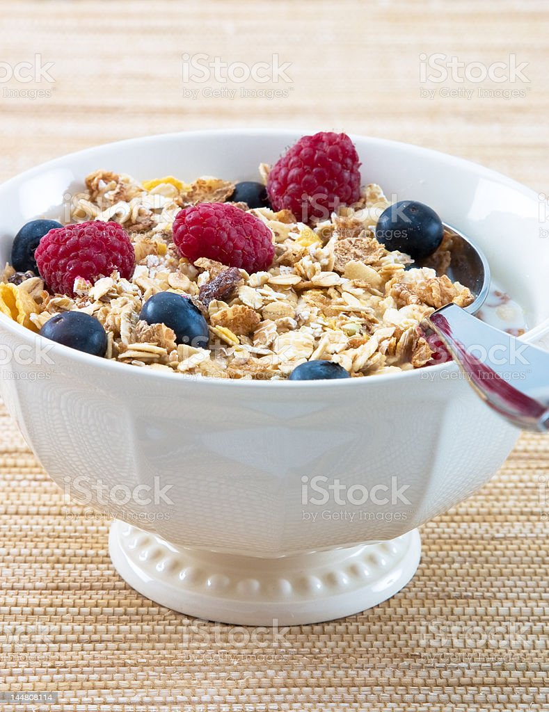 Muesli with Raspberries and Blueberries royalty-free stock photo
