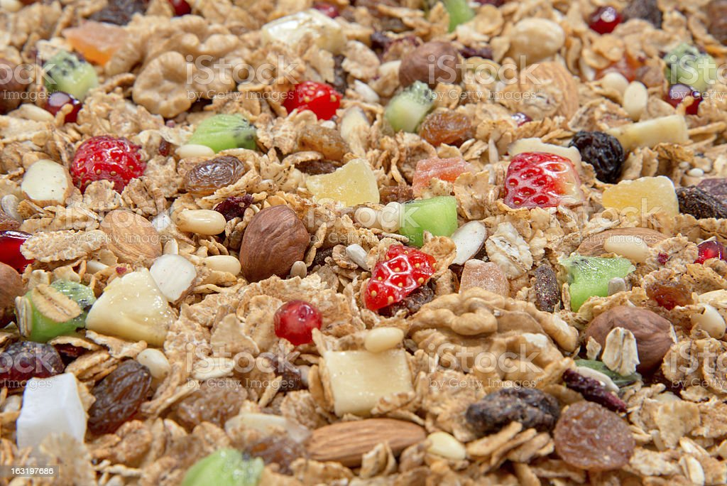 Mueslis cereals with oat flakes and fresh fruits royalty-free stock photo