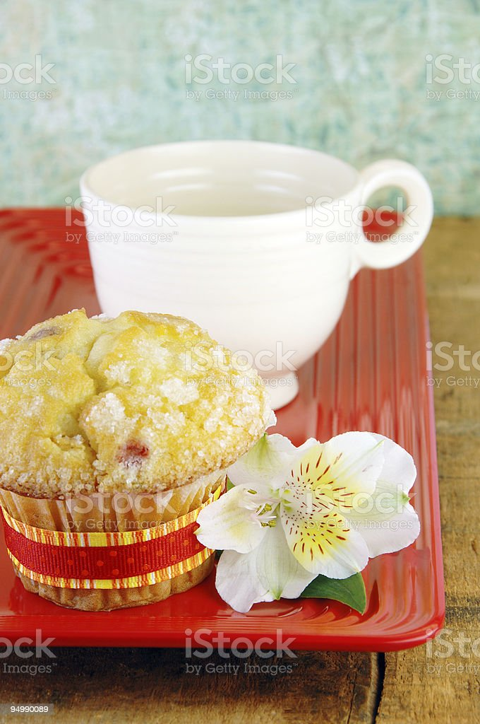Muffin and Coffee On a Rustic Wood Table royalty-free stock photo