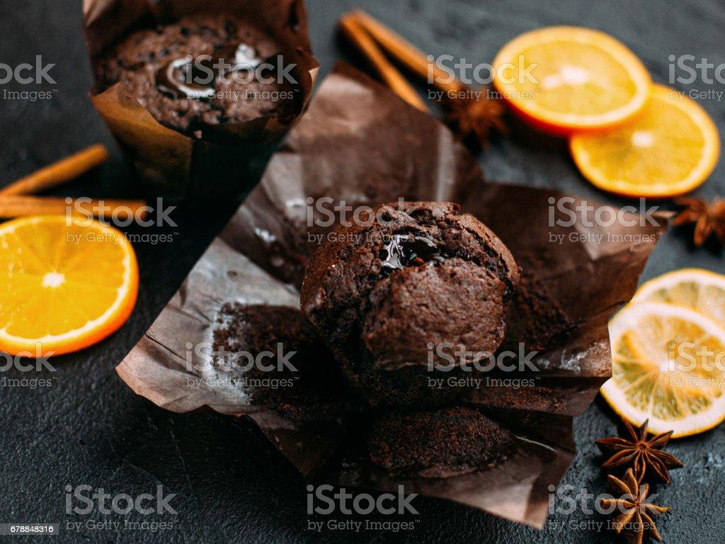 Muffin chocolate on a dark background stock photo