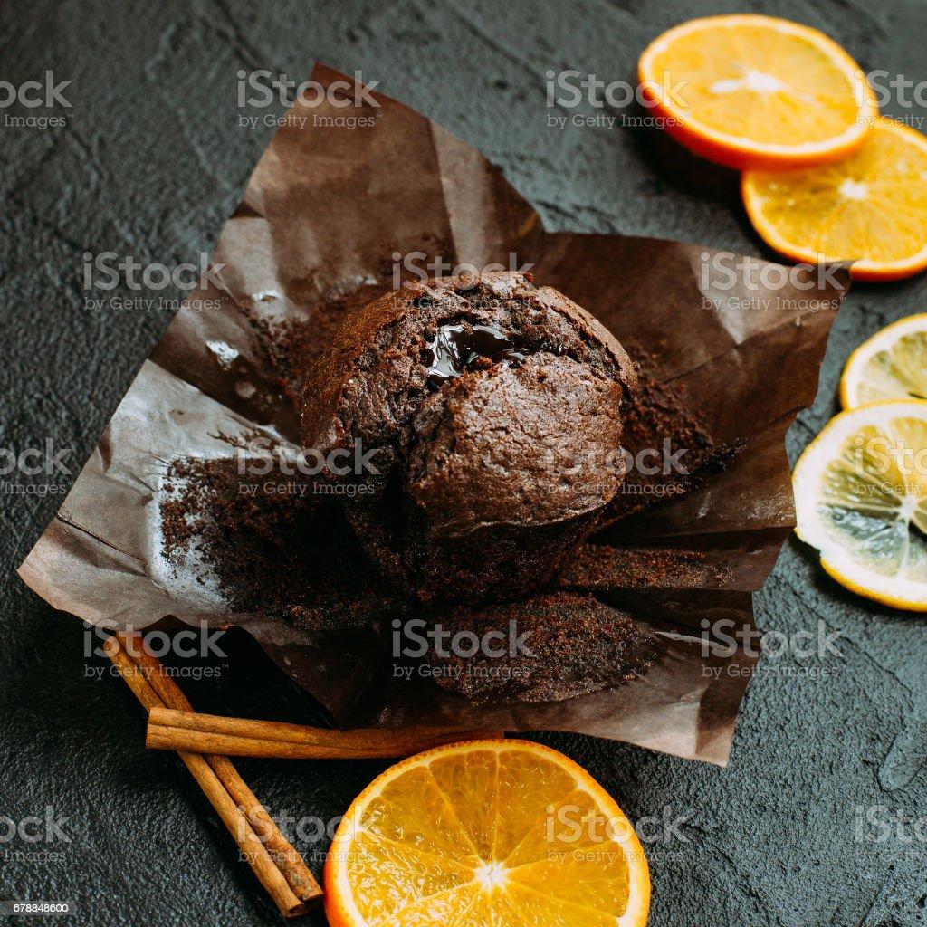 Muffin chocolate on a dark stock photo