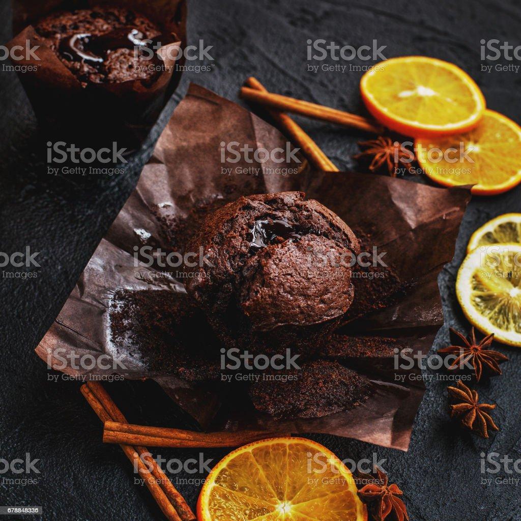Muffin chocolate stock photo