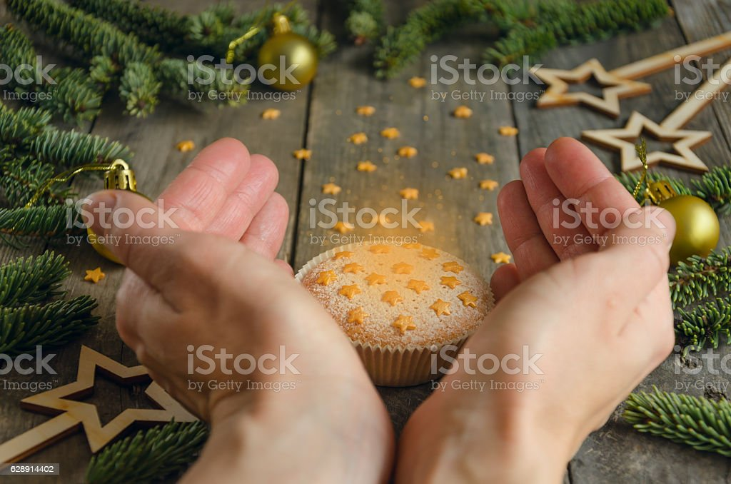 Muffin. Christmas concept stock photo