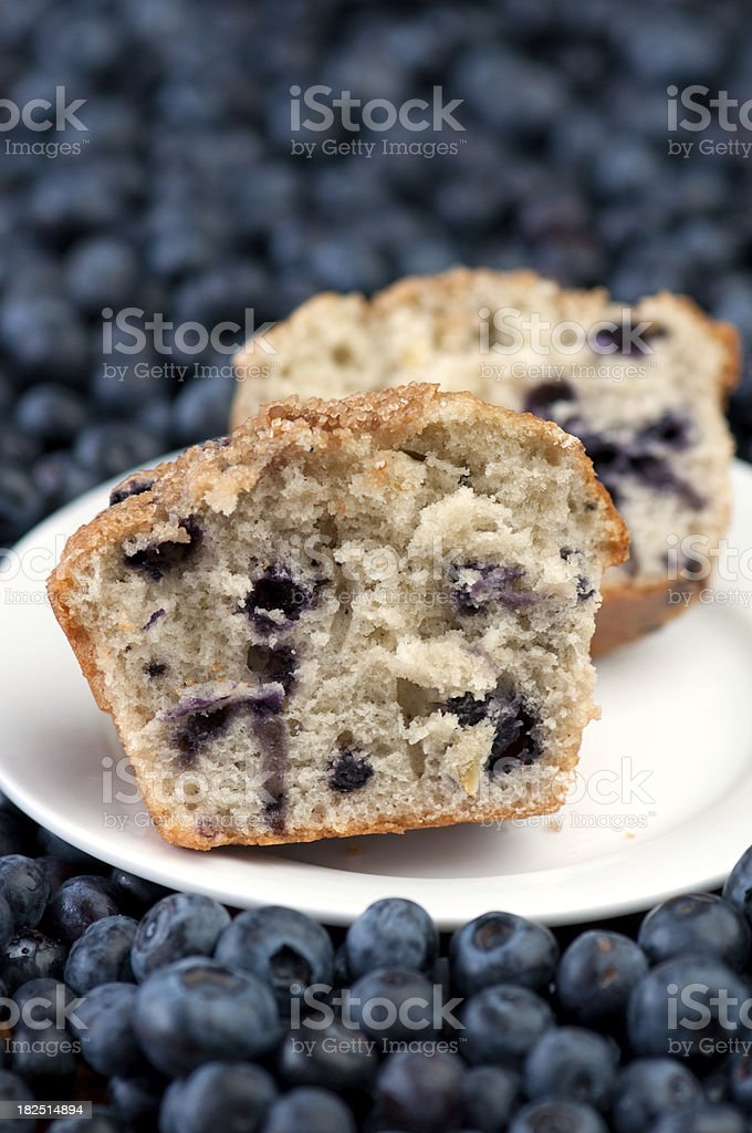 Muffin halves on white plate surrounded by fresh blueberries royalty-free stock photo