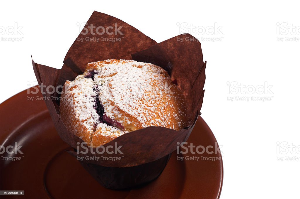 Muffin with blueberries stock photo