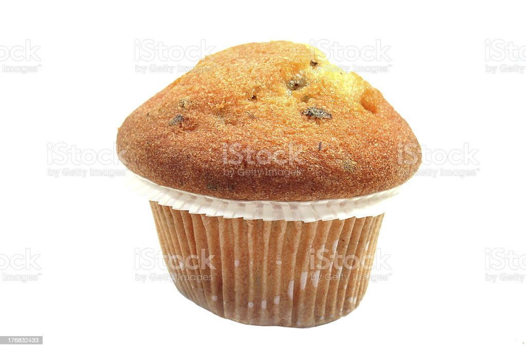 Muffin with chocolate chips stock photo
