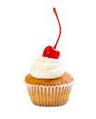 Muffin with cream and maraschino cherry