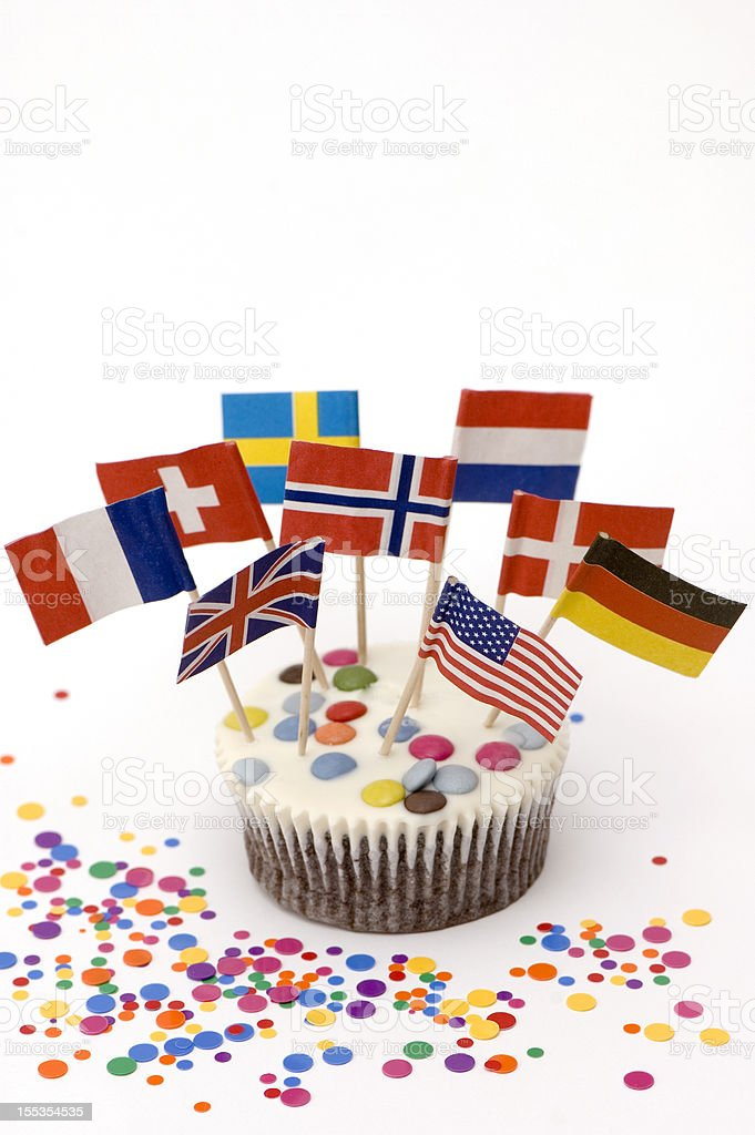 Muffin With Flags royalty-free stock photo