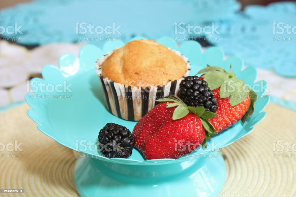 Muffins and berries stock photo