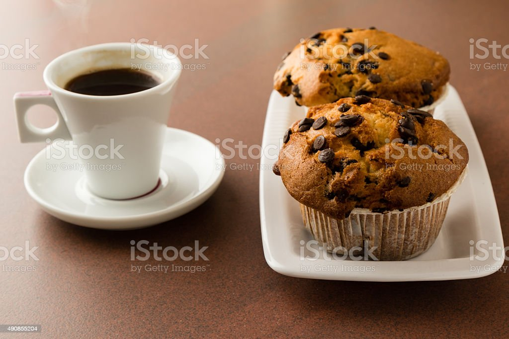 muffins and coffe stock photo