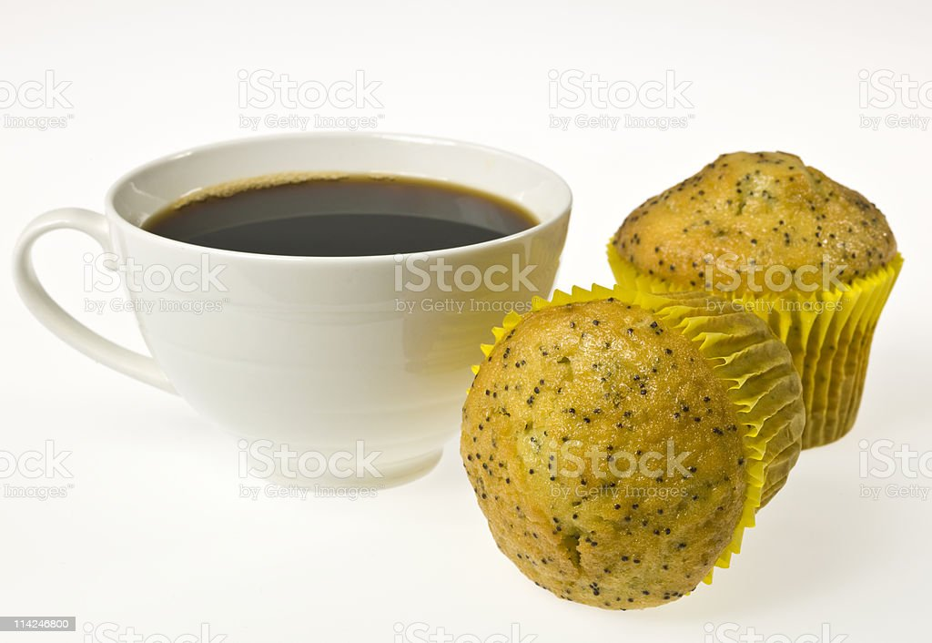 Muffins and coffee on white background stock photo