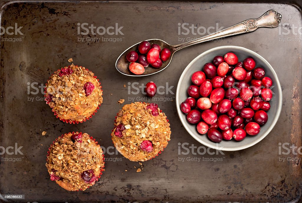 Muffins and Cranberries stock photo
