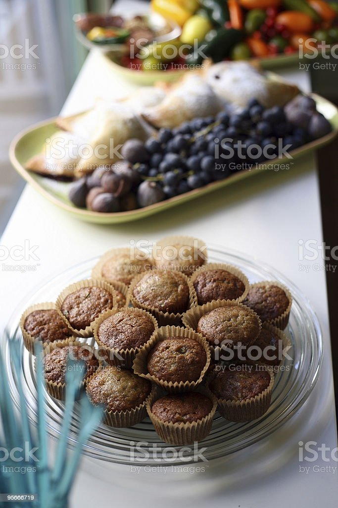 Muffins and fresh fruit  royalty-free stock photo