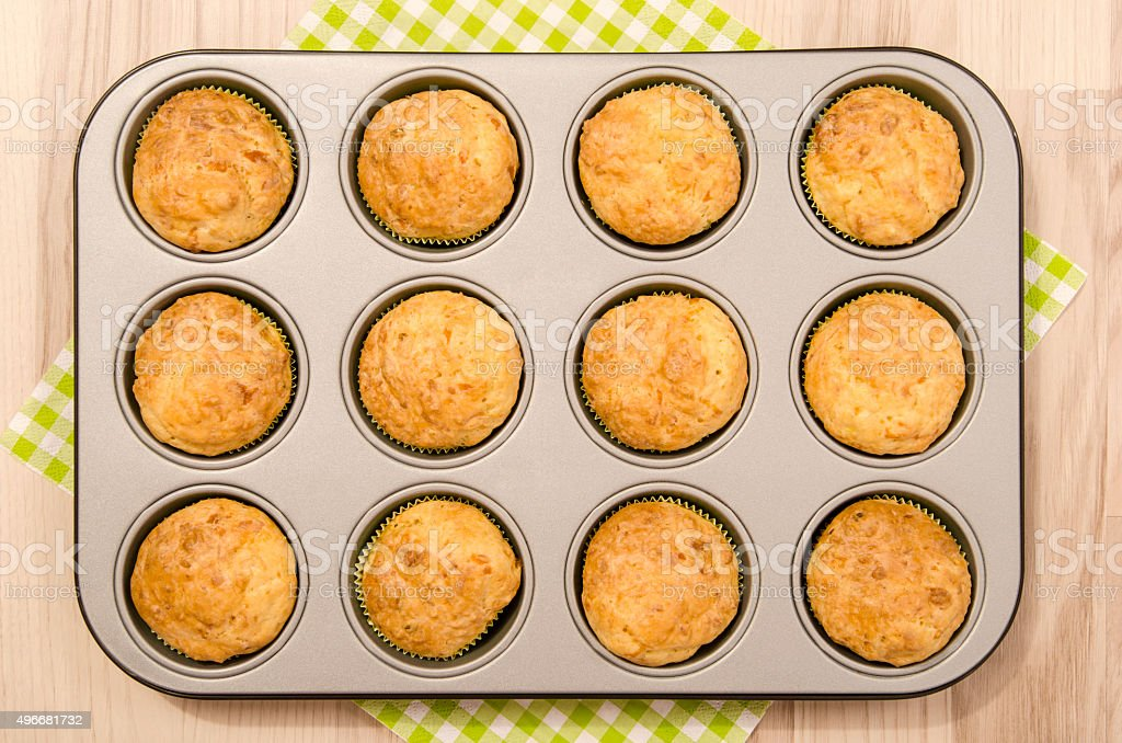 Muffins in a tray. stock photo