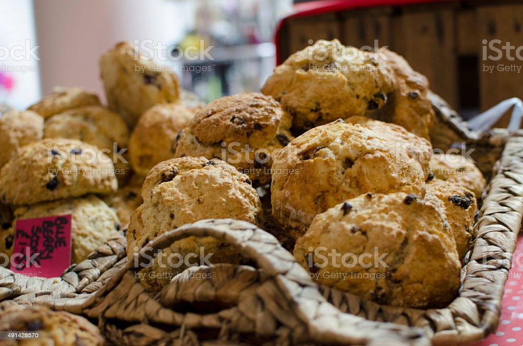muffins in basket freshly baked stock photo