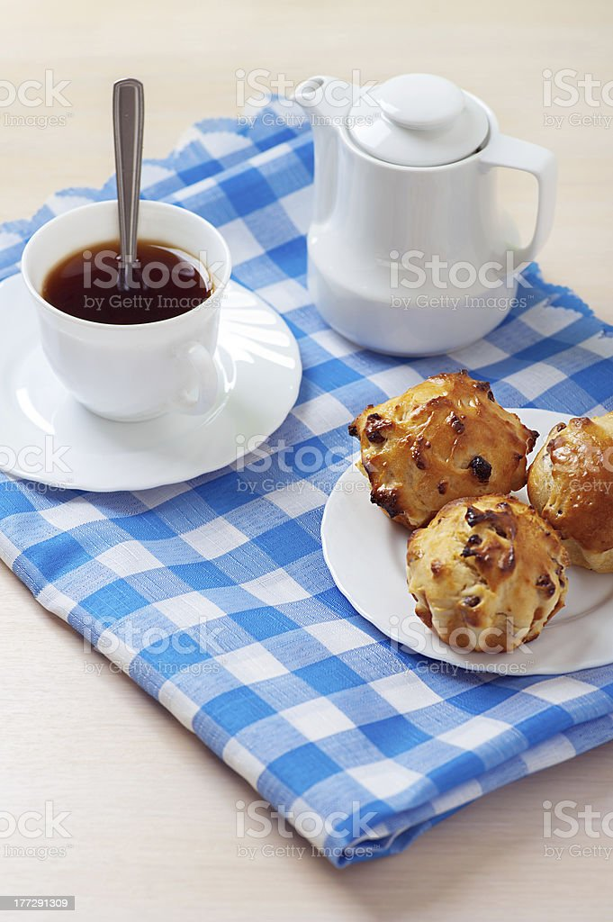 Muffins on plate, jug of milk and cup coffee royalty-free stock photo