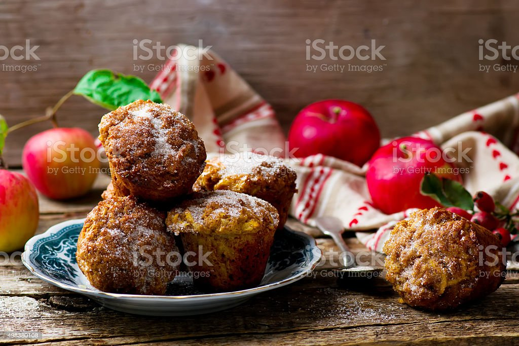 muffins with apples and oat flakes stock photo