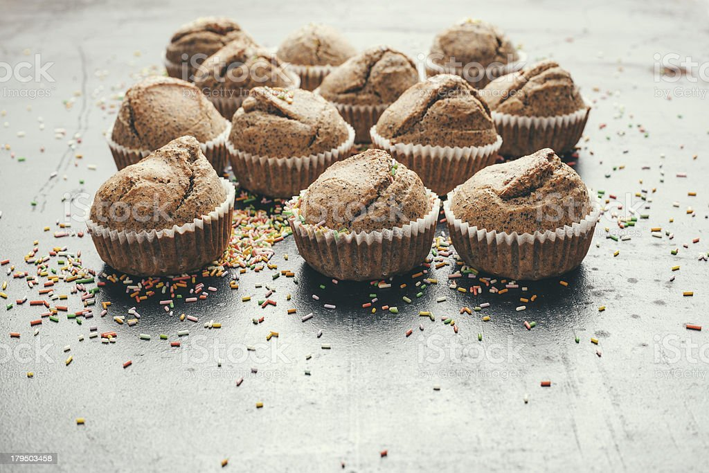 Muffins with cake decoration royalty-free stock photo