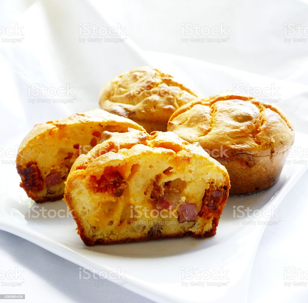 Muffins with cheese and sausage stock photo