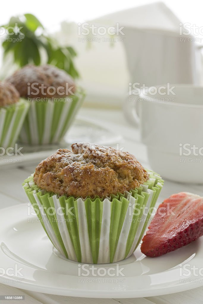 Muffins with strawberries and bananas. royalty-free stock photo